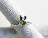 Small Bunny Peridot Ring, Sterling Silver, Bunny Fine Jewelry,MADE TO ORDER