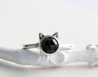 52beb93ac Black Cat Ring, Black Spinel and Sterling Silver, Cat Fine Jewelry,MADE TO  ORDER