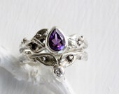 Pear Amethyst Leaf Twig Ring,Silver Branch Ring,Amethyst Ring,Leaf Engagement Ring Set,Tree Nature Handmade Fine Jewelry