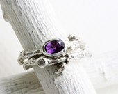 Amethyst,White Sapphire Twig Ring Set, Silver Twig Rings, Oval 6x4mm Amethyst Nature Fine Jewelry
