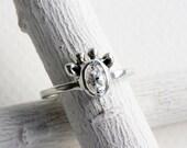 Small Giraffe White Topaz Ring,Sterling Silver Giraffe Ring,Giraffe Fine Jewelry,MADE TO ORDER