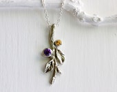 Birthstones Necklace,Amethyst & Citrine Leaf Twig Silver Necklace, Nature Fine Jewelry