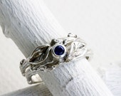 Genuine Blue Sapphire Twig Rings, Silver Branch Ring,Twig Ring, Leaf Engagement Ring,Nature Fine Jewelry