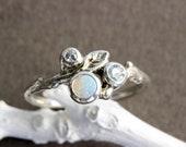 Opal,Aquamarine,White Sapphire,Gem Cluster Ring,Silver Leaf Twig Ring,Nature Fine Jewelry