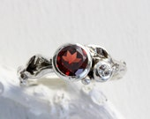 Garnet,White Sapphire Silver Leaf Twig Ring, Leaf Ring,Tree Nature Fine Jewelry