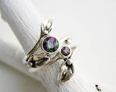 Mystic Topaz Leaf Ring Set, Silver Nature Rings with 5mm & 3mm Mystic Topaz Fine Jewelry
