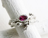 Rhodolite Garnet,White Sapphire,Engagement Ring Set, Silver Leaf Twig Rings, Oval 6x4mm Pink Garnet Nature Inspired Fine Jewelry
