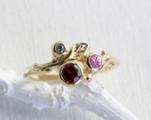 Pink Sapphire,14K, 18K Solid Gold,Garnet, White Sapphire,Yellow or Rose Gold,Leaf Twig Engagement Ring,Nature Engagement Ring,Fine Jewelry