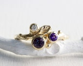 14K, 18K Solid Gold,Alexandrite,Amethyst Diamond,Yellow or Rose Gold,Leaf Twig Ring,Nature Fine Jewelry