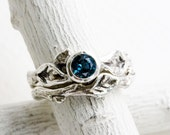 Teal London Blue Topaz Twig Ring Set, Silver Twig leaf Rings,Nature Fine Jewelry