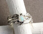Opal Twig Ring Set,Silver Leaf Ring,Branch Engagement Ring Set,Tree Nature Fine Jewelry