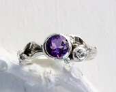 Amethyst,White Sapphire Silver Leaf Twig Ring, Leaf Ring,Tree Nature Fine Jewelry
