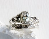 White Topaz,White Sapphire,Silver Leaf Twig Engagement Ring Set,Nature Fine Jewelry
