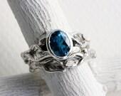 London Blue Topaz Leaf Twig Engagement Rings, Silver Twig Ring Set,London Blue Topaz Nature Tree Fine Jewelry