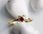 Ruby,14K,18K Yellow Gold Tiny Mini Cat Ring,Solid14K 18K Pink Rose Gold,Cat Fine Jewelry,MADE TO ORDER
