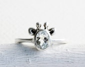 White Giraffe Ring, White Topaz and Sterling Silver,Giraffe Fine Jewelry