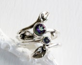 Double Mystic Topaz Leaf Engagement Ring Set, Silver Nature Inspired Handmade Fine Jewelry