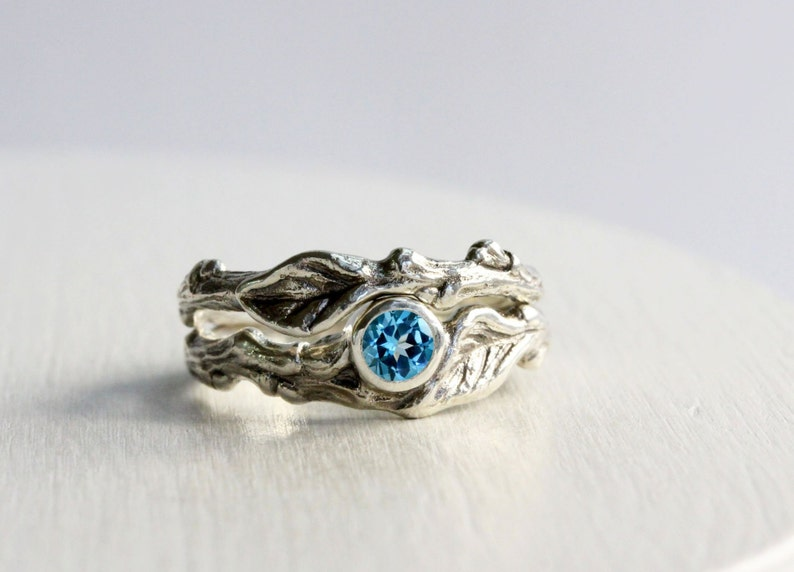 Blue Topaz Twig Rings, Leaf Ring, Silver Branch Engagement Ring Set,Tree  Nature Fine Jewelry