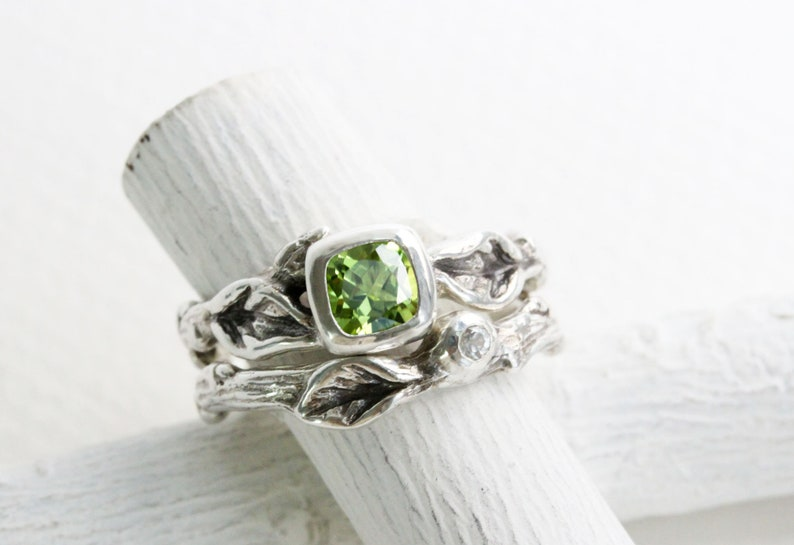 Silver Twig Ring Set,Nature Tree Fine Jewelry Square Peridot,White Sapphire,Leaf Twig Engagement Ring Set