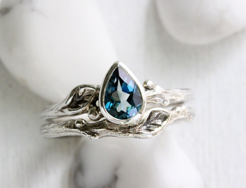 Pear London Blue Topaz Leaf Twig Ring Set,Silver Branch Rings,Tree Nature  Handmade Fine Jewelry