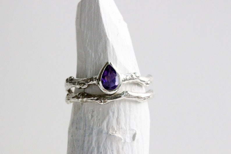 Pear Amethyst Silver Twig Ring,Tree Nature Inspired Ring Handmade Fine Jewelry