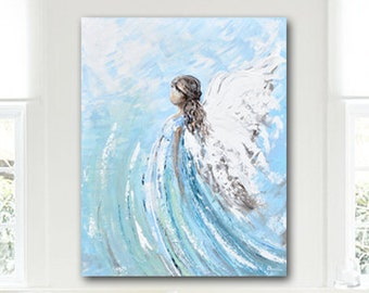 GICLEE PRINT Art Abstract Angel Painting Canvas Print Oil Painting Holiday Home Decor Spiritual Wall Art Sympathy Gift White Blue -Christine