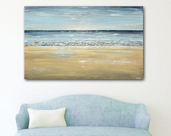 GICLEE PRINT Art Blue Abstract Painting Seascape Oil Painting Large Wall Art Home Decor Landscape Coastal Beach Decor Canvas Print Christine