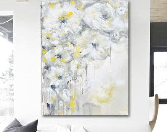 GICLEE PRINT Art Abstract Oil Painting Yellow Grey Flowers Large Acrylic Painting Home Decor Wall Art Floral Canvas Print Christine Krainock