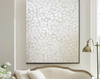 CUSTOM Original Painting Textured Abstract Painting Large Art Pearl White Wall Art Home Decor Wall Decor Canvas Sculpted sizes MADE to ORDER