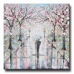 GICLEE PRINT Art Abstract Painting Couple With Umbrella Cherry Trees Oil Painting Wall Art Home Decor Walk Rain Romantic Pink Christine