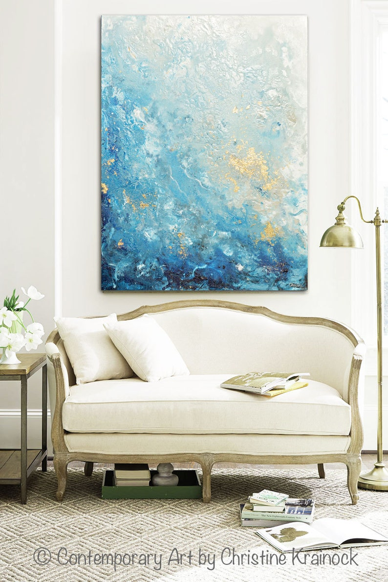 GICLEE PRINT Large Art Abstract Painting Blue White Wall Art image 0