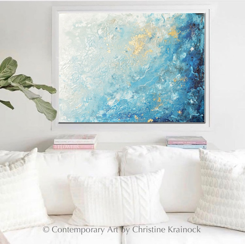 Giclee Print Large Art Abstract Painting Blue White Wall Art Home Decor Canvas Prints Coastal Wall Decor Marbled Seascape Beach Christine