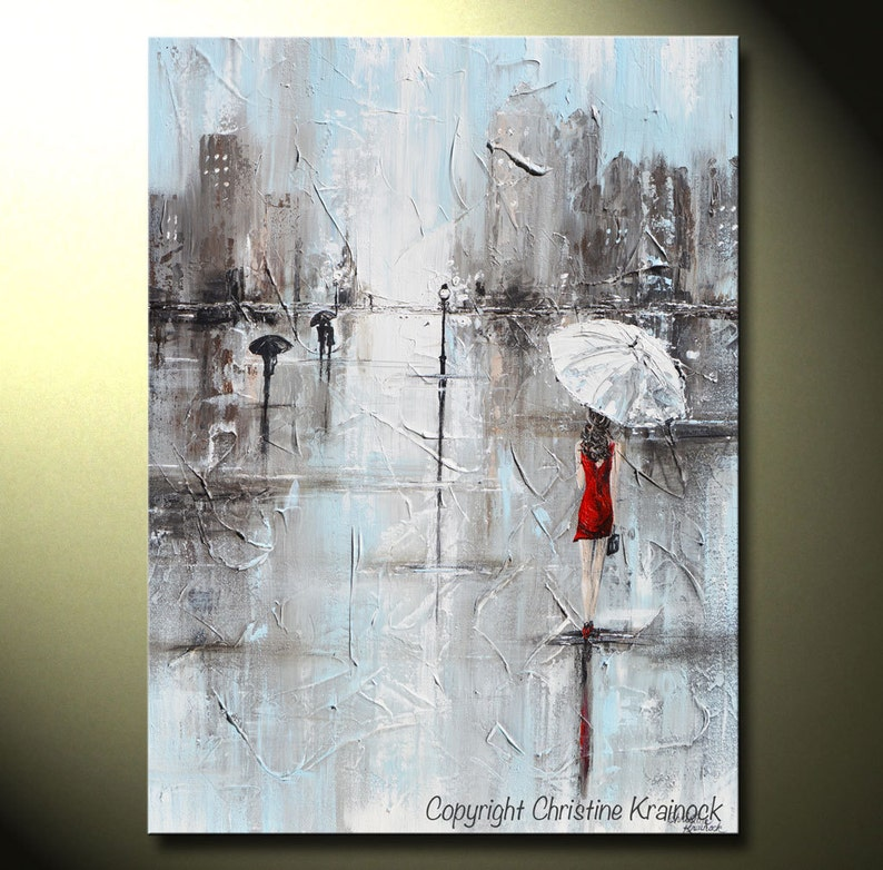Abstract Rainy City on on Framed Canvas Art Pictures Home Décor