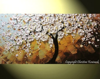 CUSTOM Art Abstract Painting White Cherry Tree Painting Blossoms Flowers Textured Palette Knife Blue Brown MADE to ORDER Size Christine Bell
