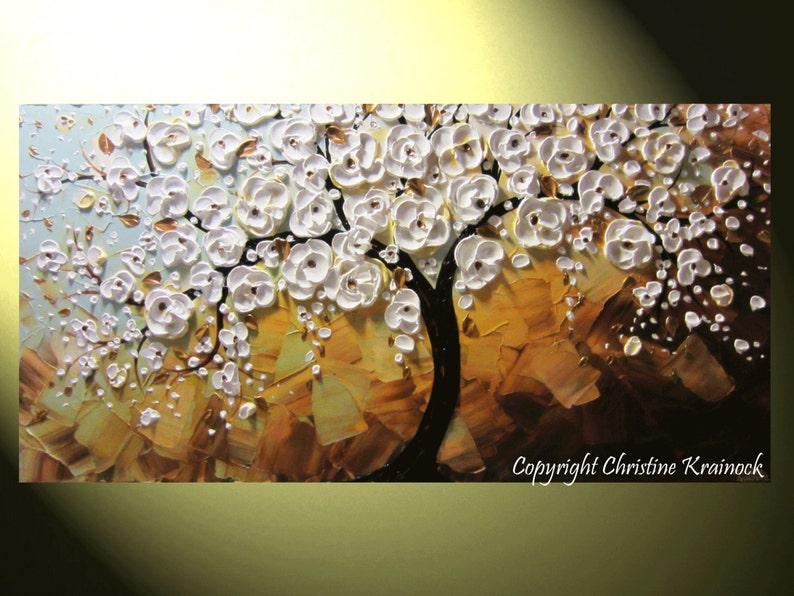 CUSTOM Art Abstract Painting White Cherry Tree Painting image 0