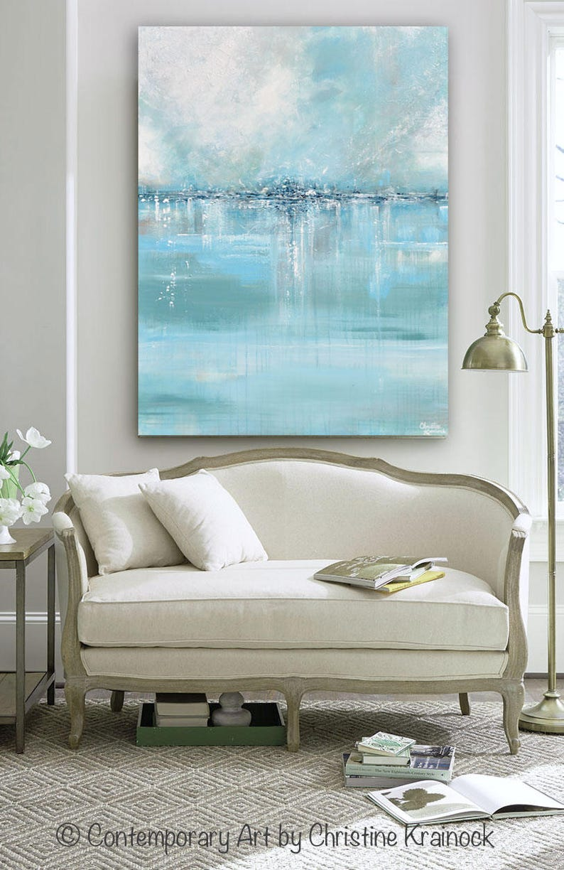 Giclee Print Large Art Abstract Painting Blue White Grey Wall Etsy
