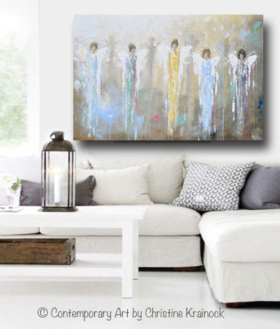 Giclee Print Art Abstract Angel Painting Guardian Angels Wings Etsy