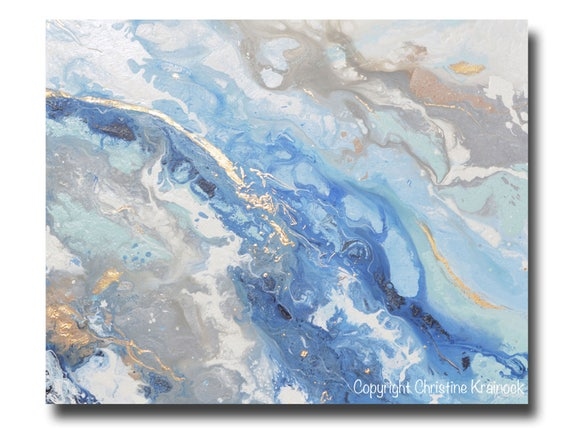 c9a9210b042 GICLEE PRINT Large Art Abstract Painting Blue Grey White