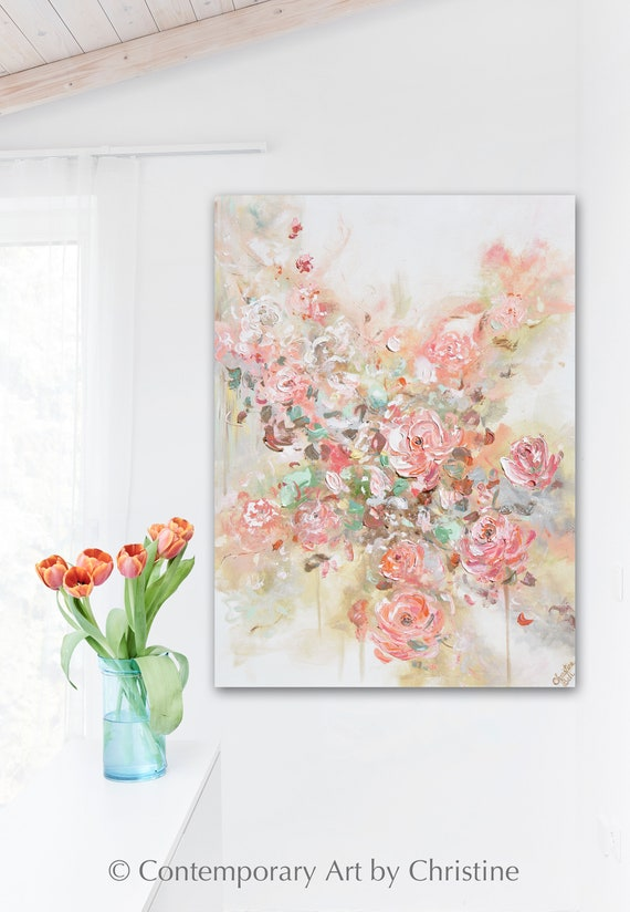 Housewarming Wall Decor Holiday Gift Pink Flowers in Vase Art Print Giclee Print of Watercolor Painting Plant Art Print Handmade