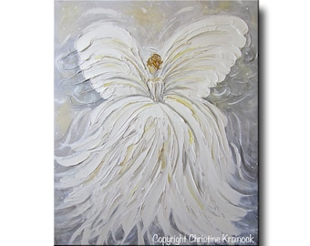 GICLEE PRINT Art Abstract Angel Painting White Grey Gold Home Decor Gift Wall Art Guardian Angel White Acrylic Painting Spiritual Christine