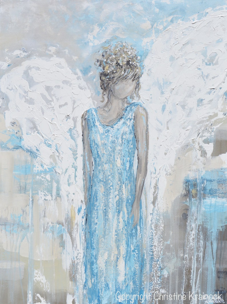 GICLEE PRINT Art Abstract Angel Painting Canvas Print Oil Painting Home Decor Wall Decor Gift Spiritual White Blue Grey Beige Christine