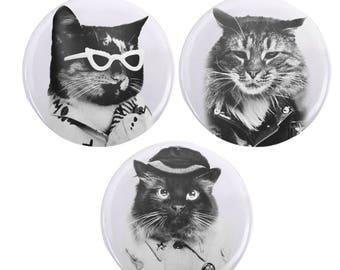 """Set of 1.25"""" Cat Punk Rocker Vapowave Pins Buttons"""