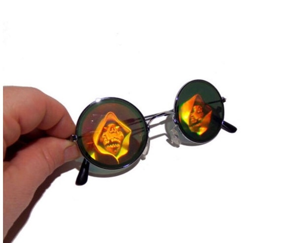 50b5c83054 Vintage NOS Grim Reaper Holographic Round Sunglasses Goth