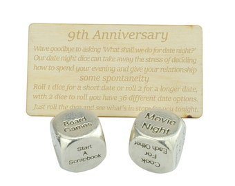 Nineth Anniversary Date Night Decider Dice - 9th Anniversary