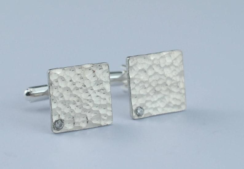 10th Anniversary Gift for Him Square Beaten Pure Tin Cufflinks