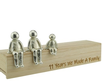 11 Years We Made a Family Sculpture Figurines - 11th Anniversary   Years 1 to 30 Available   Wooden Box Size & Grain Will Vary