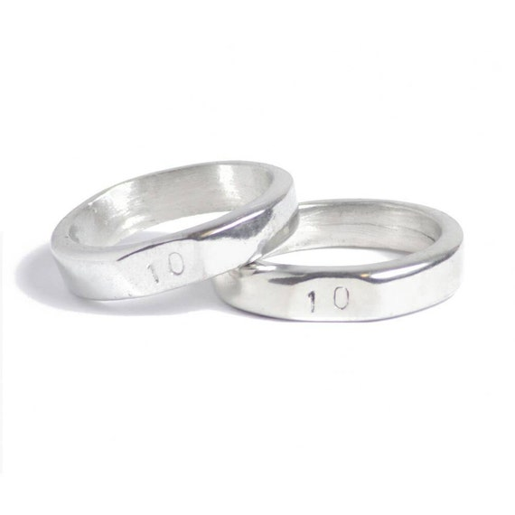 10th Wedding Anniversary Signet Rings Stamped With 10 Made Etsy