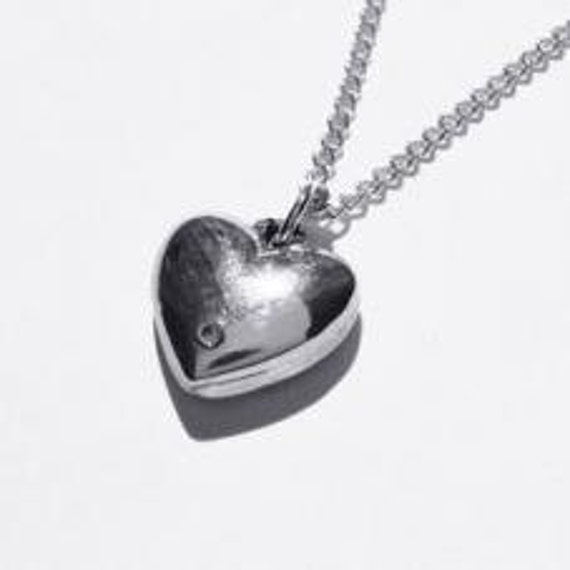 Tin And Diamond Heart Pendant Traditional And Modern 10th Etsy