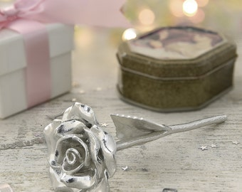 10th Anniversary Tin Rose - Solid Pure Casted 100% Tin - Everlasting Rose