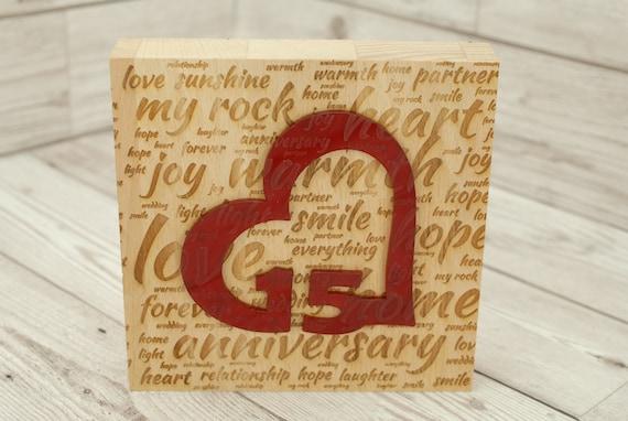 1st Anniversary Wooden Acrylic Decoration Freestanding Modern Gift